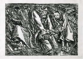 02.Ernst Barlach, Cross- and coffin robbers, 1919, woodcut