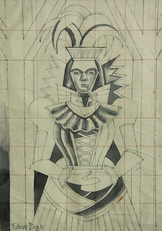 06.Fortunato Depero, Portrait of a woman in costume, ink