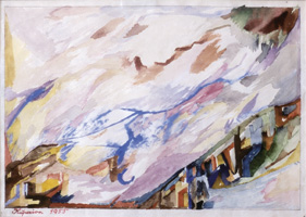 07.Alois Kuperion, Landscape, 1955, mixed media